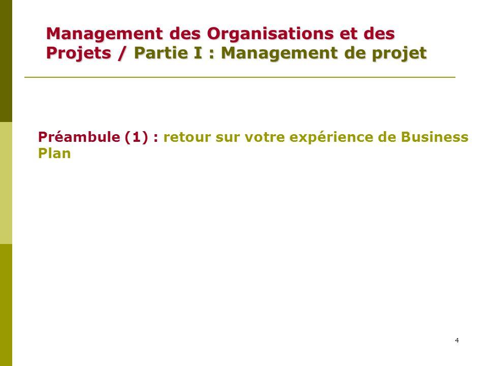 4 Management des Organisations et des Projets /Partie I : Management de projet Management des Organisations et des Projets / Partie I : Management de projet Préambule (1) : retour sur votre expérience de Business Plan