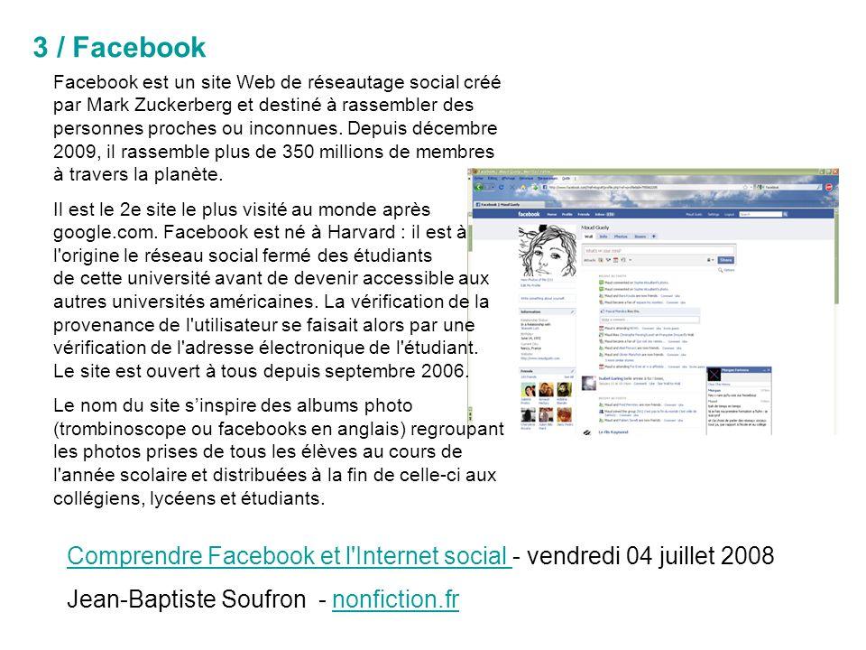 Facebook est un site Web de réseautage social créé par Mark Zuckerberg et destiné à rassembler des personnes proches ou inconnues.