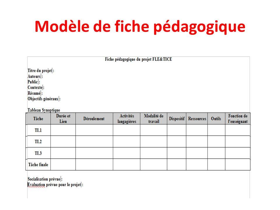 Modèle de fiche pédagogique