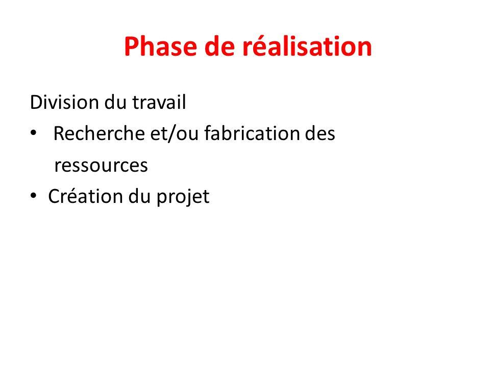 Phase de réalisation Division du travail Recherche et/ou fabrication des ressources Création du projet