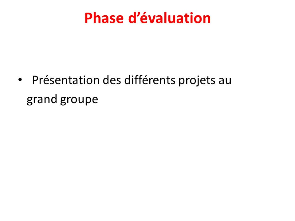 Phase dévaluation Présentation des différents projets au grand groupe