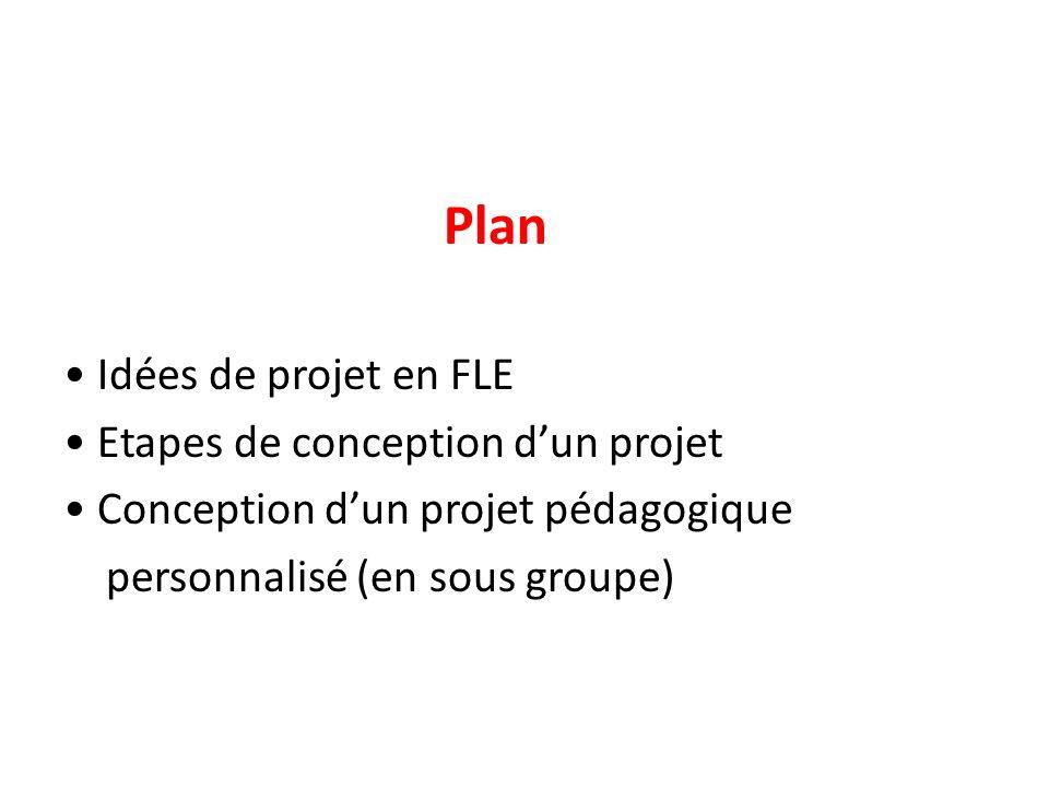 Plan Idées de projet en FLE Etapes de conception dun projet Conception dun projet pédagogique personnalisé (en sous groupe)
