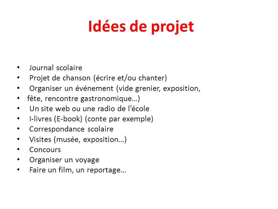Idées de projet Journal scolaire Projet de chanson (écrire et/ou chanter) Organiser un événement (vide grenier, exposition, fête, rencontre gastronomi