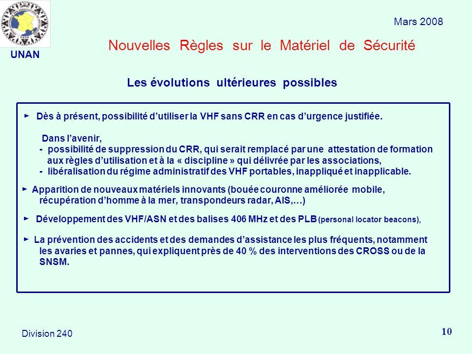 Nouvelles Règles sur le Matériel de Sécurité Dès à présent, possibilité dutiliser la VHF sans CRR en cas durgence justifiée. Dans lavenir, - possibili
