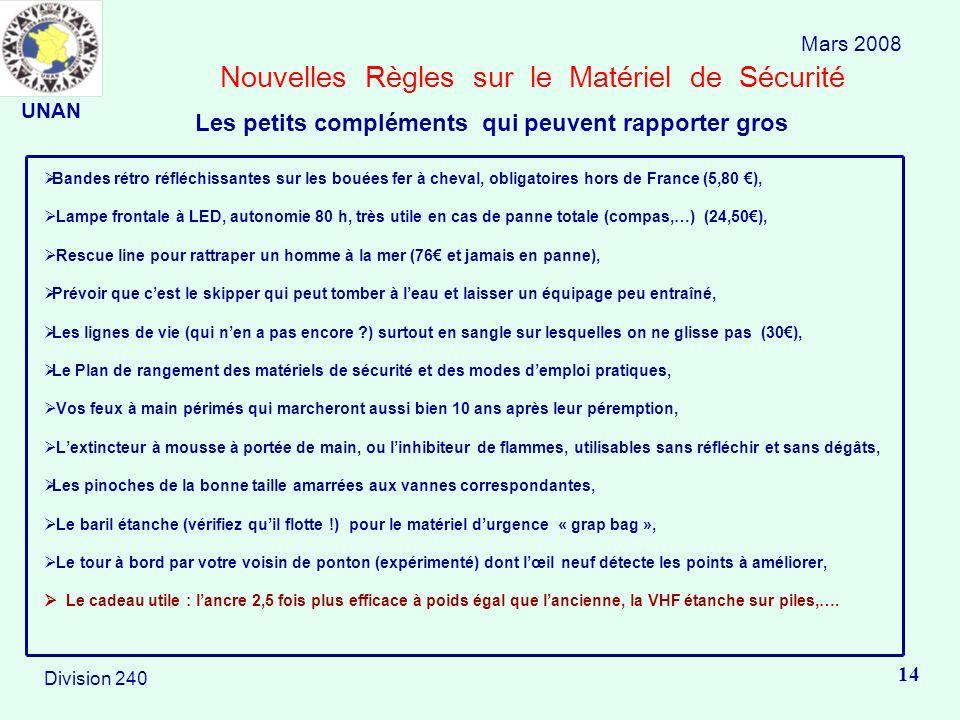 Nouvelles Règles sur le Matériel de Sécurité Bandes rétro réfléchissantes sur les bouées fer à cheval, obligatoires hors de France (5,80 ), Lampe fron