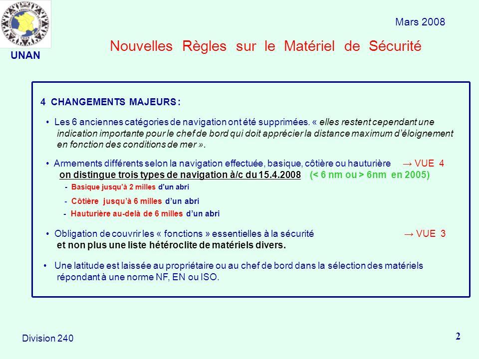 Nouvelles Règles sur le Matériel de Sécurité Mars 2008 2 Division 240 4 CHANGEMENTS MAJEURS : Les 6 anciennes catégories de navigation ont été supprim