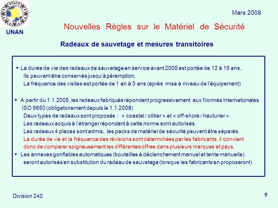 Nouvelles Règles sur le Matériel de Sécurité La durée de vie des radeaux de sauvetage en service avant 2005 est portée de 12 à 15 ans, Ils peuvent êtr