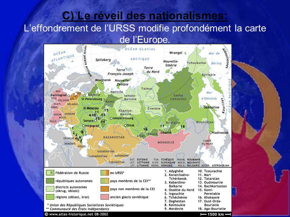 C) Le réveil des nationalismes: Leffondrement de lURSS modifie profondément la carte de lEurope.