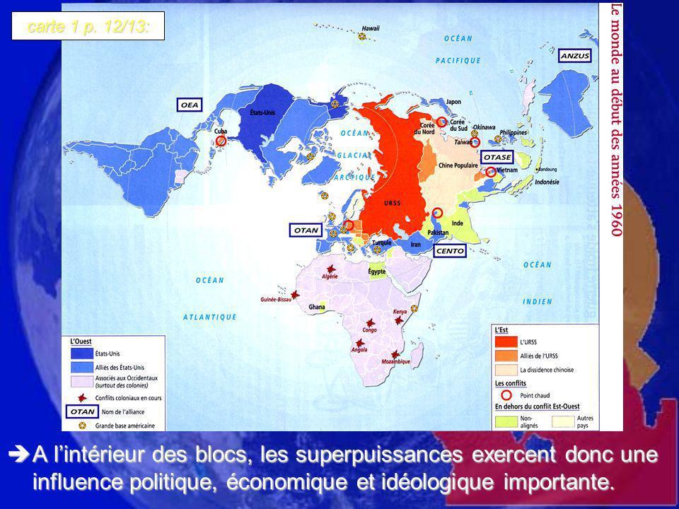 A lintérieur des blocs, les superpuissances exercent donc une influence politique, économique et idéologique importante. A lintérieur des blocs, les s
