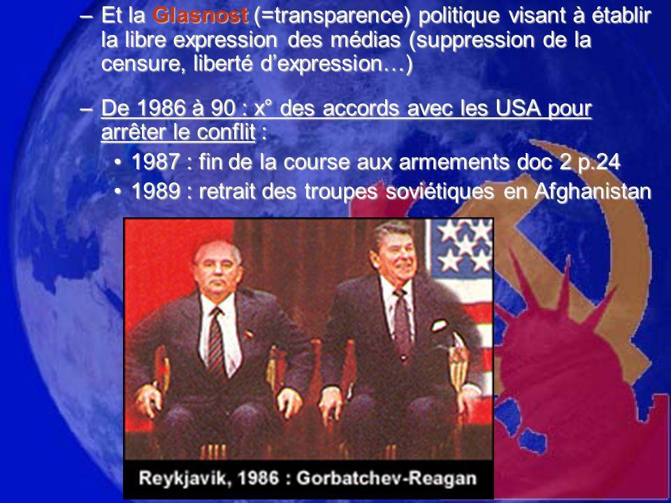 –Et la Glasnost (=transparence) politique visant à établir la libre expression des médias (suppression de la censure, liberté dexpression…) –De 1986 à