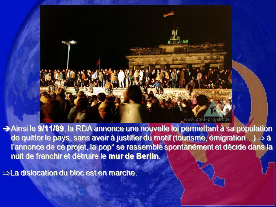 Ainsi le 9/11/89, la RDA annonce une nouvelle loi permettant à sa population de quitter le pays, sans avoir à justifier du motif (tourisme, émigration