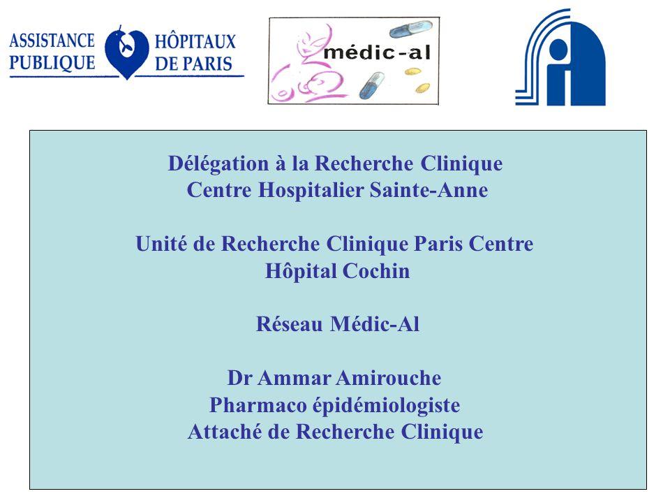 CCRN04 12 20081 Délégation à la Recherche Clinique Centre Hospitalier Sainte-Anne Unité de Recherche Clinique Paris Centre Hôpital Cochin Réseau Médic