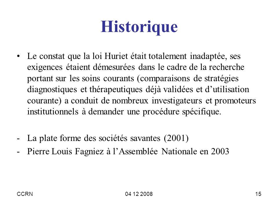 CCRN04 12 200815 Historique Le constat que la loi Huriet était totalement inadaptée, ses exigences étaient démesurées dans le cadre de la recherche po