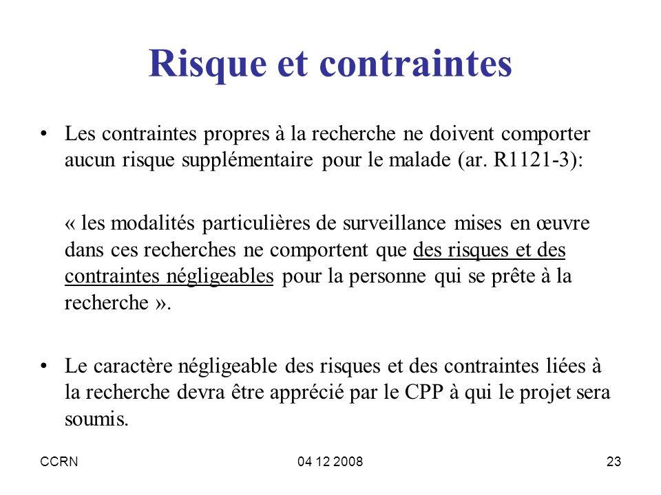 CCRN04 12 200823 Risque et contraintes Les contraintes propres à la recherche ne doivent comporter aucun risque supplémentaire pour le malade (ar. R11