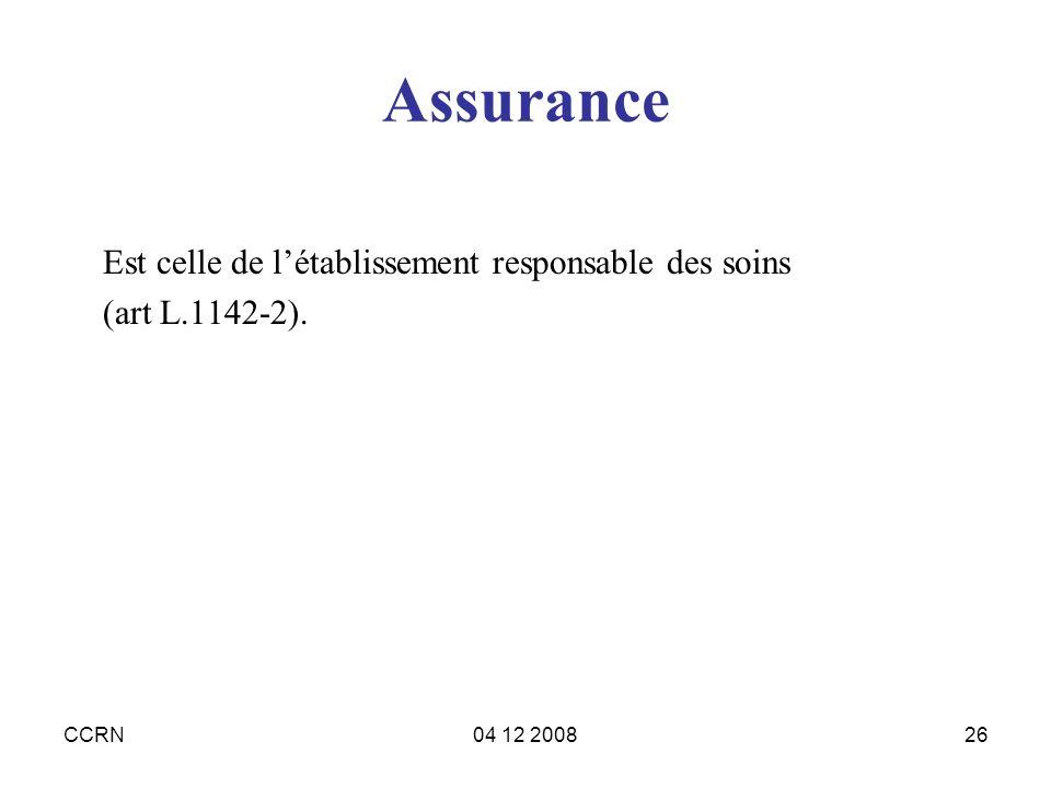 CCRN04 12 200826 Assurance Est celle de létablissement responsable des soins (art L.1142-2).