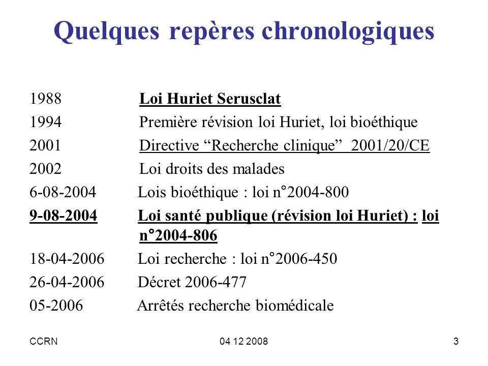 CCRN04 12 20083 Quelques repères chronologiques 1988 Loi Huriet Serusclat 1994 Première révision loi Huriet, loi bioéthique 2001 Directive Recherche c