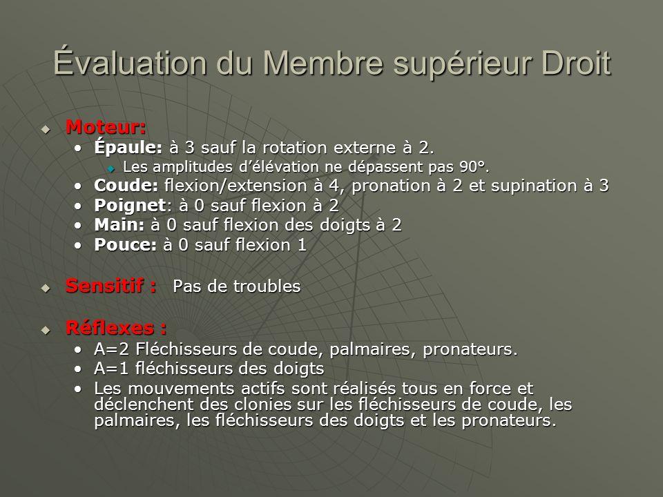 Évaluation du Membre supérieur Droit Moteur: Moteur: Épaule: à 3 sauf la rotation externe à 2.Épaule: à 3 sauf la rotation externe à 2. Les amplitudes