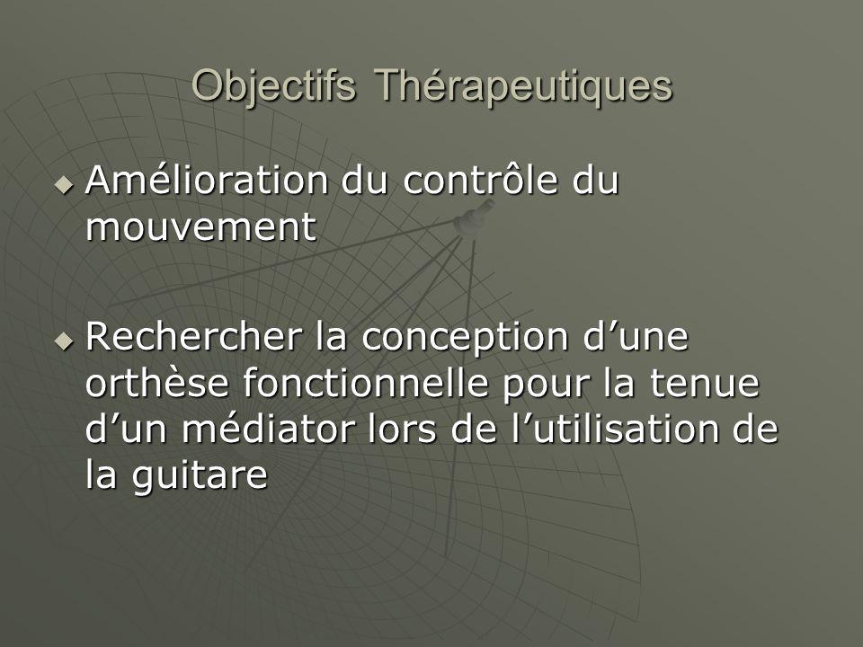 Objectifs Thérapeutiques Amélioration du contrôle du mouvement Amélioration du contrôle du mouvement Rechercher la conception dune orthèse fonctionnel