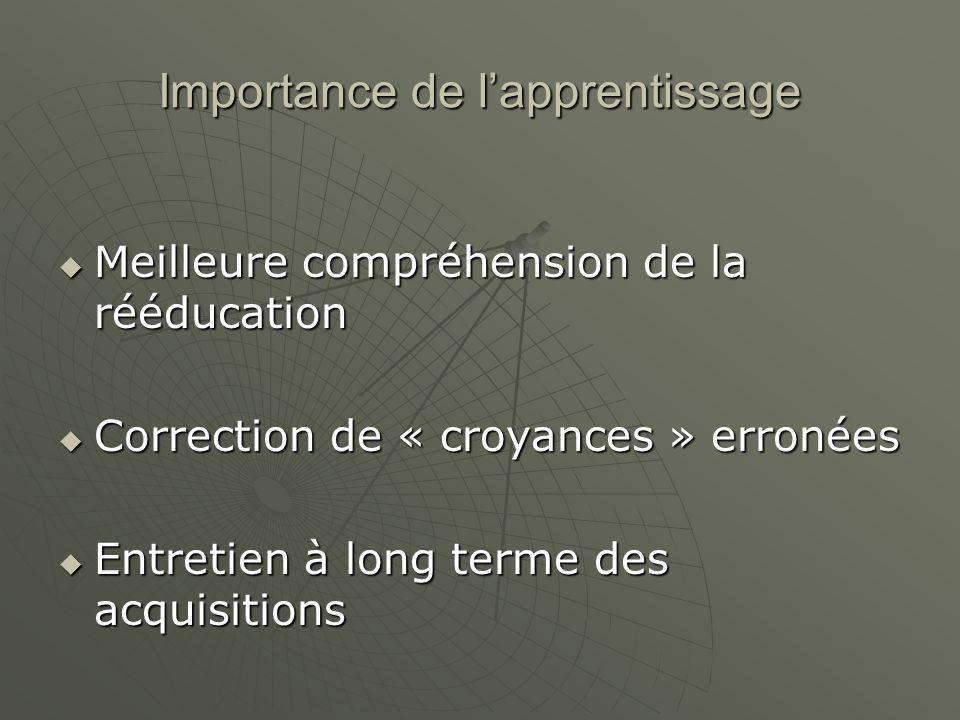 Importance de lapprentissage Meilleure compréhension de la rééducation Meilleure compréhension de la rééducation Correction de « croyances » erronées