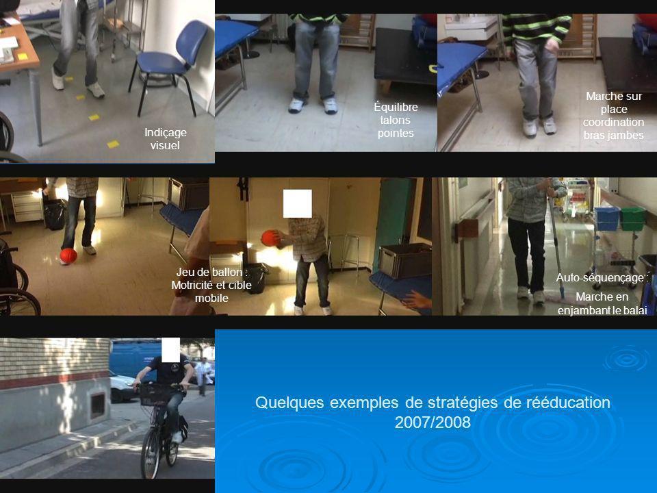 Quelques exemples de stratégies de rééducation 2007/2008 Indiçage visuel Équilibre talons pointes Marche sur place coordination bras jambes Jeu de bal