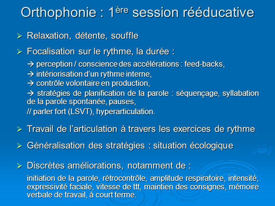 Orthophonie : 1 ère session rééducative Relaxation, détente, souffle Relaxation, détente, souffle Focalisation sur le rythme, la durée : Focalisation