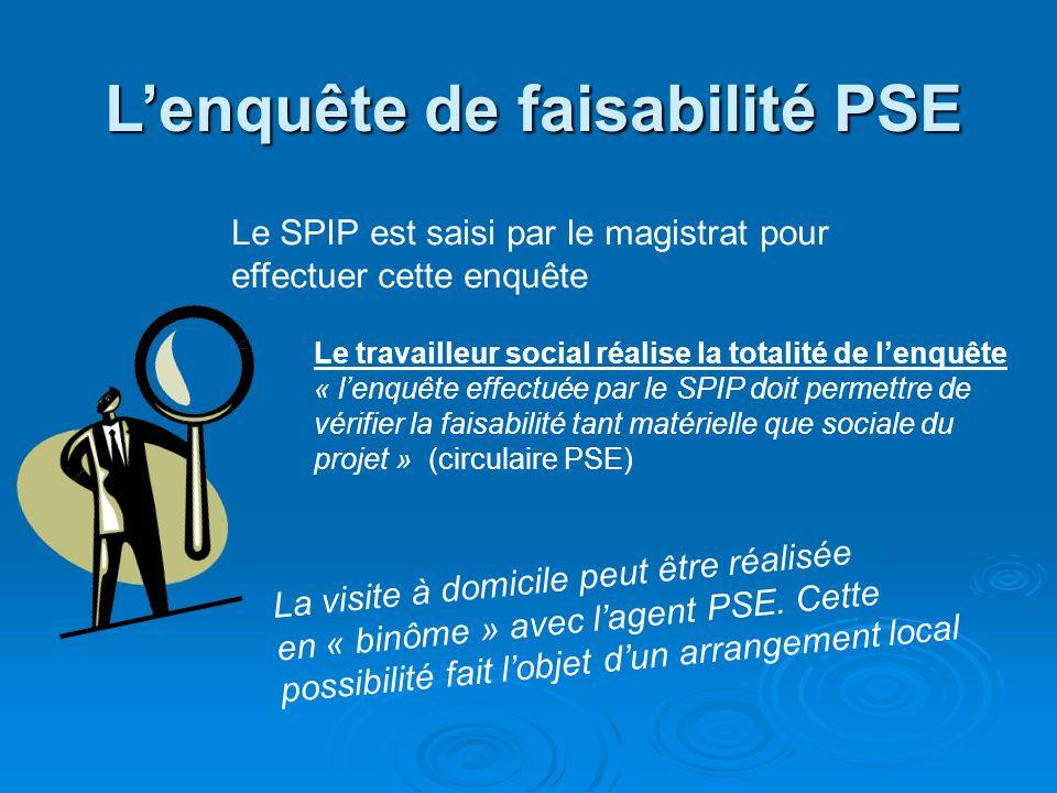 Lenquête de faisabilité PSE Le SPIP est saisi par le magistrat pour effectuer cette enquête Le travailleur social réalise la totalité de lenquête « le