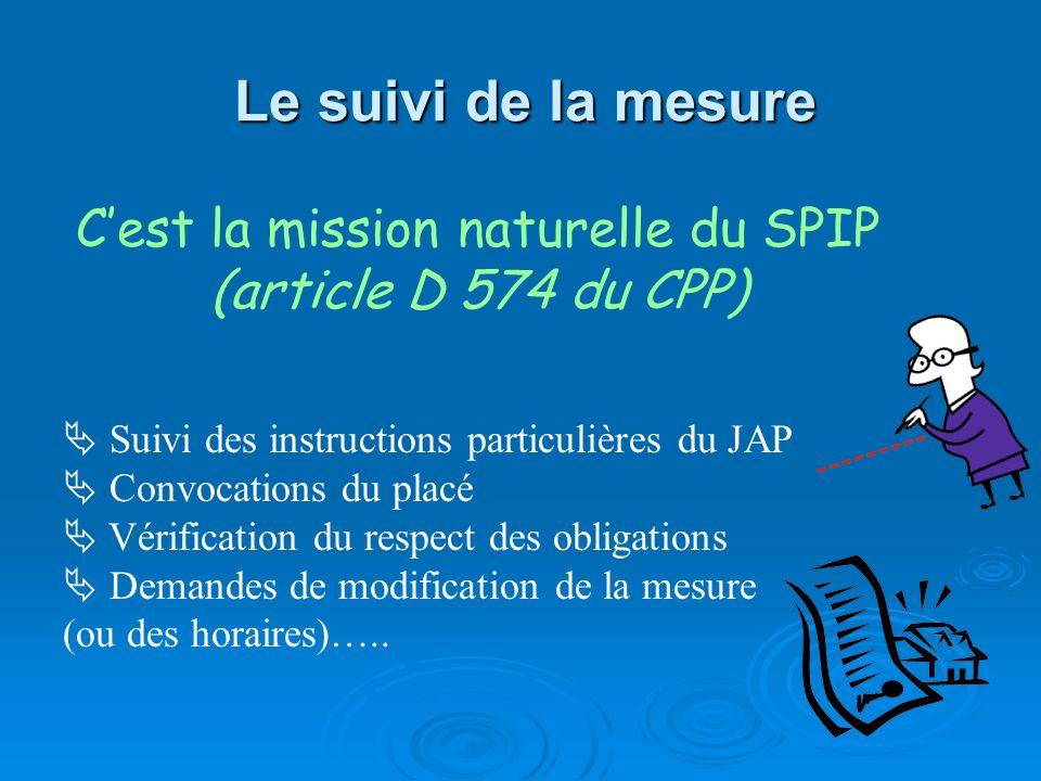 Le suivi de la mesure Cest la mission naturelle du SPIP (article D 574 du CPP) Suivi des instructions particulières du JAP Convocations du placé Vérif