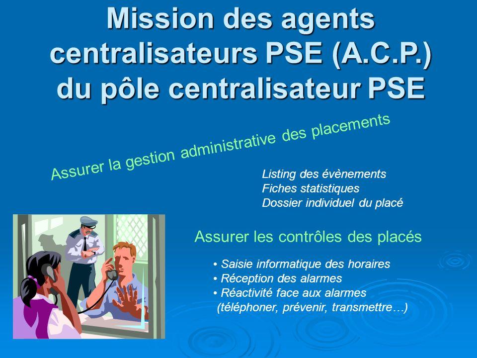 Mission des agents centralisateurs PSE (A.C.P.) du pôle centralisateur PSE Assurer la gestion administrative des placements Assurer les contrôles des