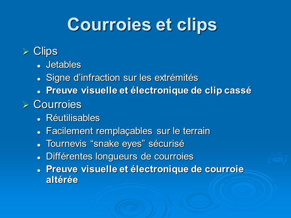 Courroies et clips Clips Clips Jetables Jetables Signe dinfraction sur les extrémités Signe dinfraction sur les extrémités Preuve visuelle et électron