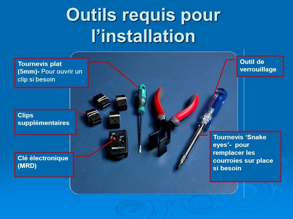 Outils requis pour linstallation Clé électronique (MRD) Outil de verrouillage Tournevis Snake eyes- pour remplacer les courroies sur place si besoin T