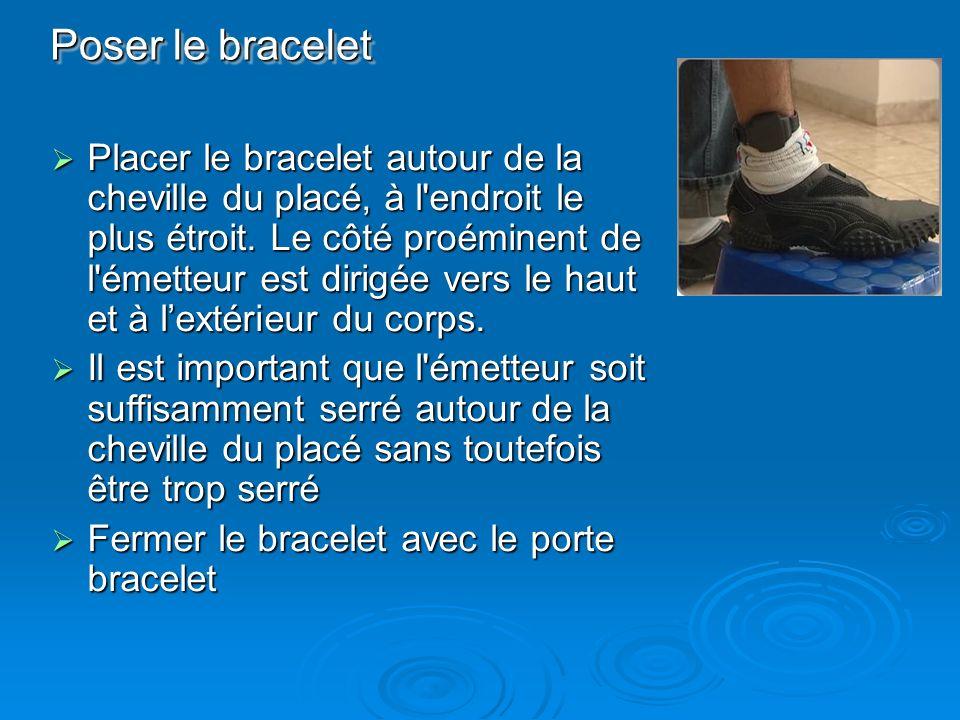 Placer le bracelet autour de la cheville du placé, à l'endroit le plus étroit. Le côté proéminent de l'émetteur est dirigée vers le haut et à lextérie