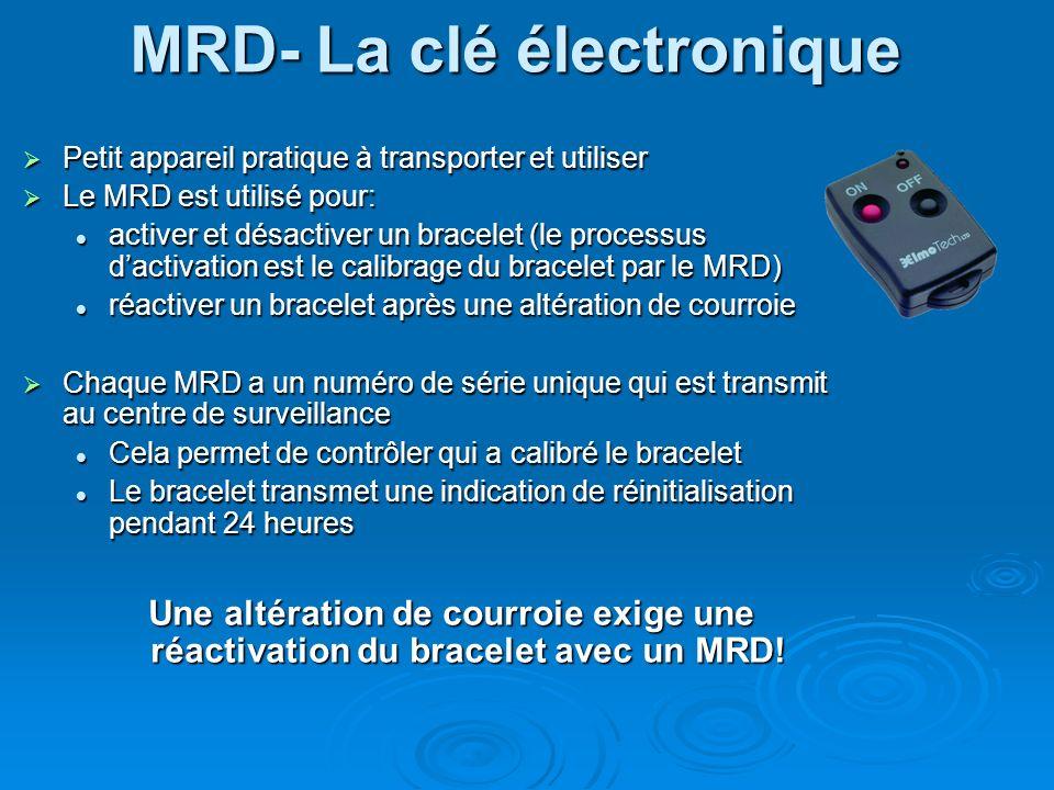 MRD- La clé électronique Petit appareil pratique à transporter et utiliser Petit appareil pratique à transporter et utiliser Le MRD est utilisé pour: