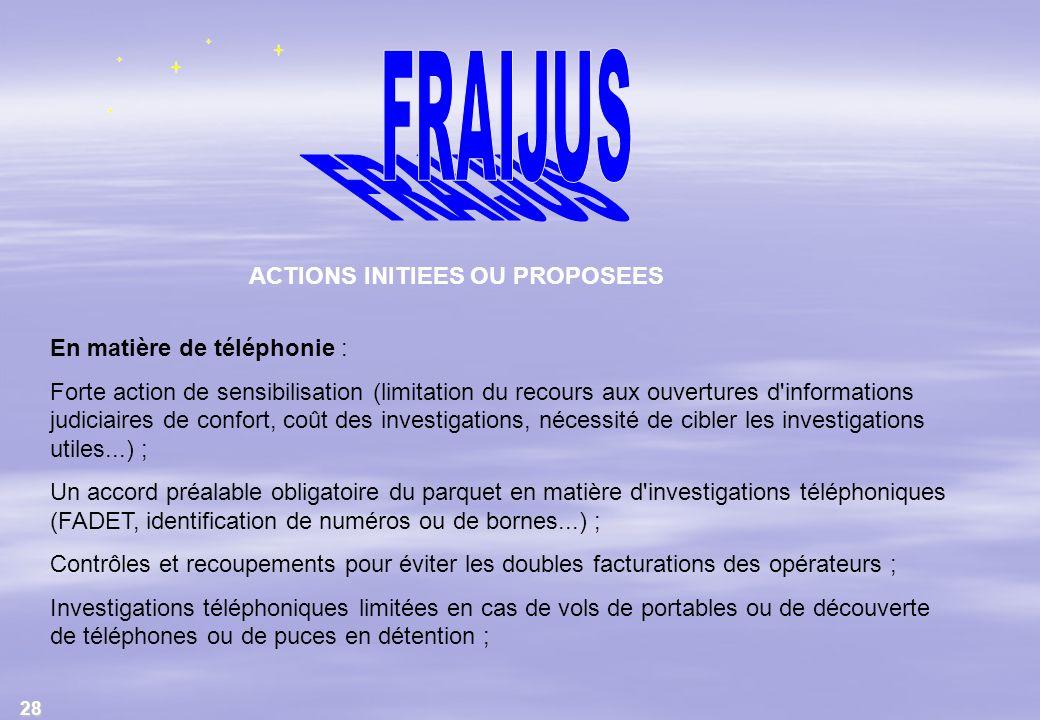 28 ACTIONS INITIEES OU PROPOSEES En matière de téléphonie : Forte action de sensibilisation (limitation du recours aux ouvertures d'informations judic