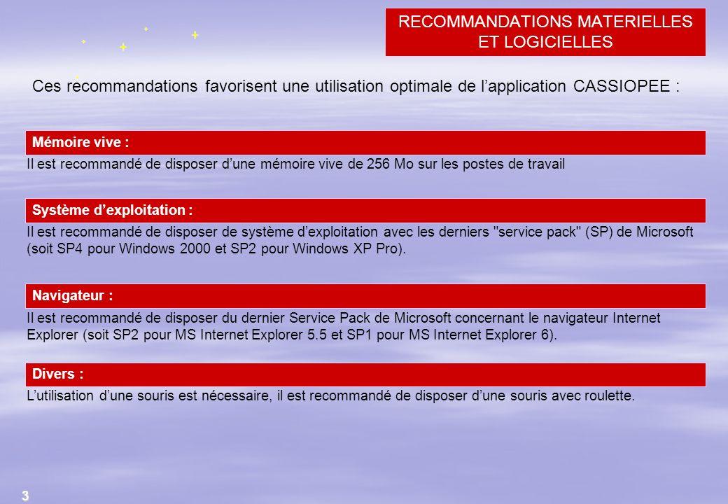 3 Ces recommandations favorisent une utilisation optimale de lapplication CASSIOPEE : Il est recommandé de disposer dune mémoire vive de 256 Mo sur le