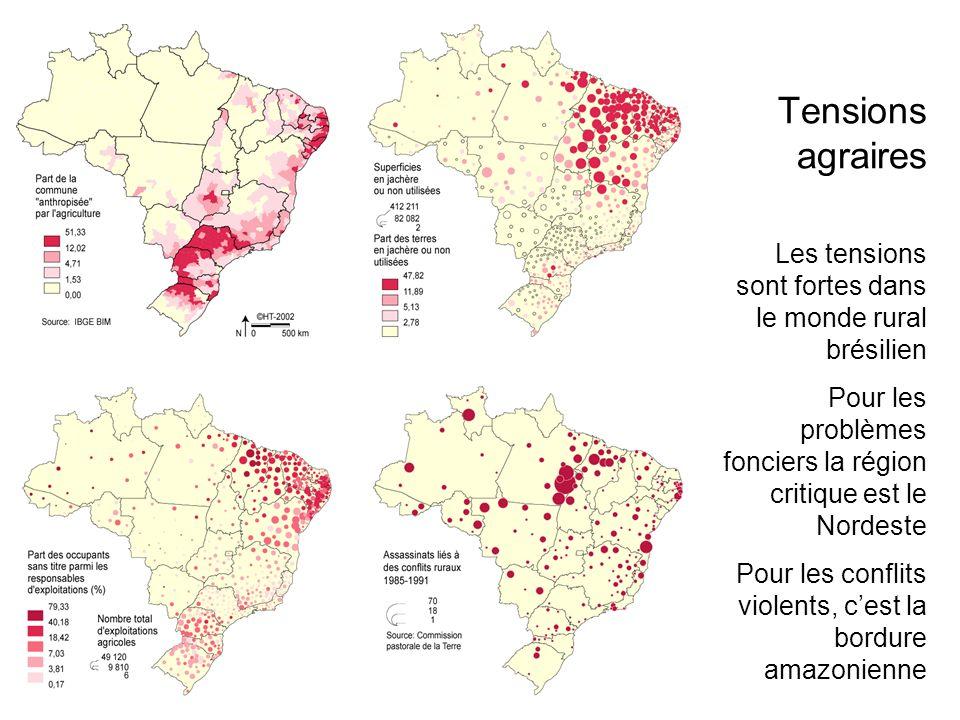 Les tensions sont fortes dans le monde rural brésilien Pour les problèmes fonciers la région critique est le Nordeste Pour les conflits violents, cest la bordure amazonienne Tensions agraires