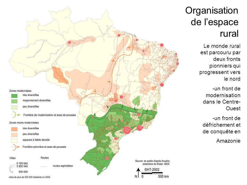 Le monde rural est parcouru par deux fronts pionniers qui progressent vers le nord -un front de modernisation dans le Centre- Ouest -un front de défrichement et de conquête en Amazonie Organisation de lespace rural