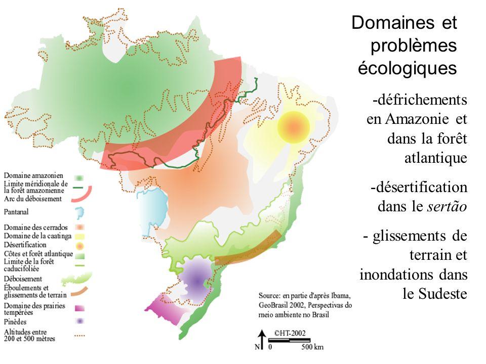 -défrichements en Amazonie et dans la forêt atlantique -désertification dans le sertão - glissements de terrain et inondations dans le Sudeste Domaines et problèmes écologiques