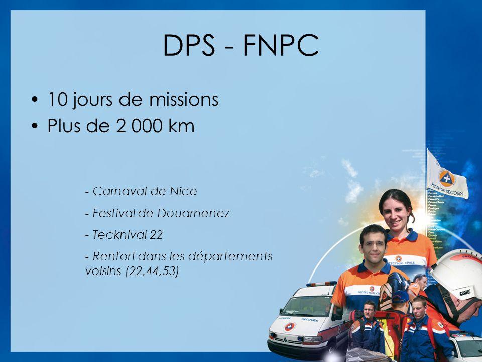 DPS - FNPC 10 jours de missions Plus de 2 000 km - Carnaval de Nice - Festival de Douarnenez - Tecknival 22 - Renfort dans les départements voisins (22,44,53)