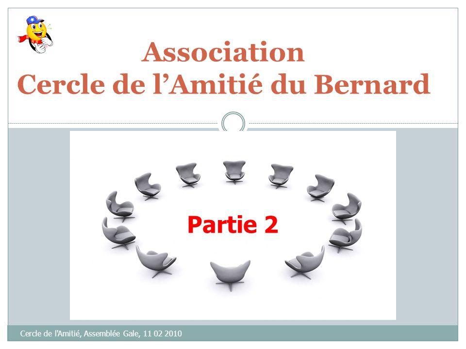 Association Cercle de lAmitié du Bernard Cercle de l Amitié, Assemblée Gale, 11 02 2010 Assemblée Générale 11 février 2010 Partie 2