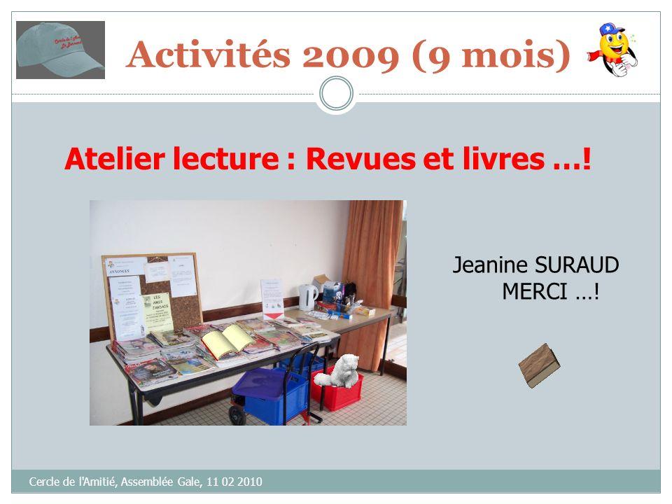 Cercle de l Amitié, Assemblée Gale, 11 02 2010 Atelier lecture : Revues et livres ….