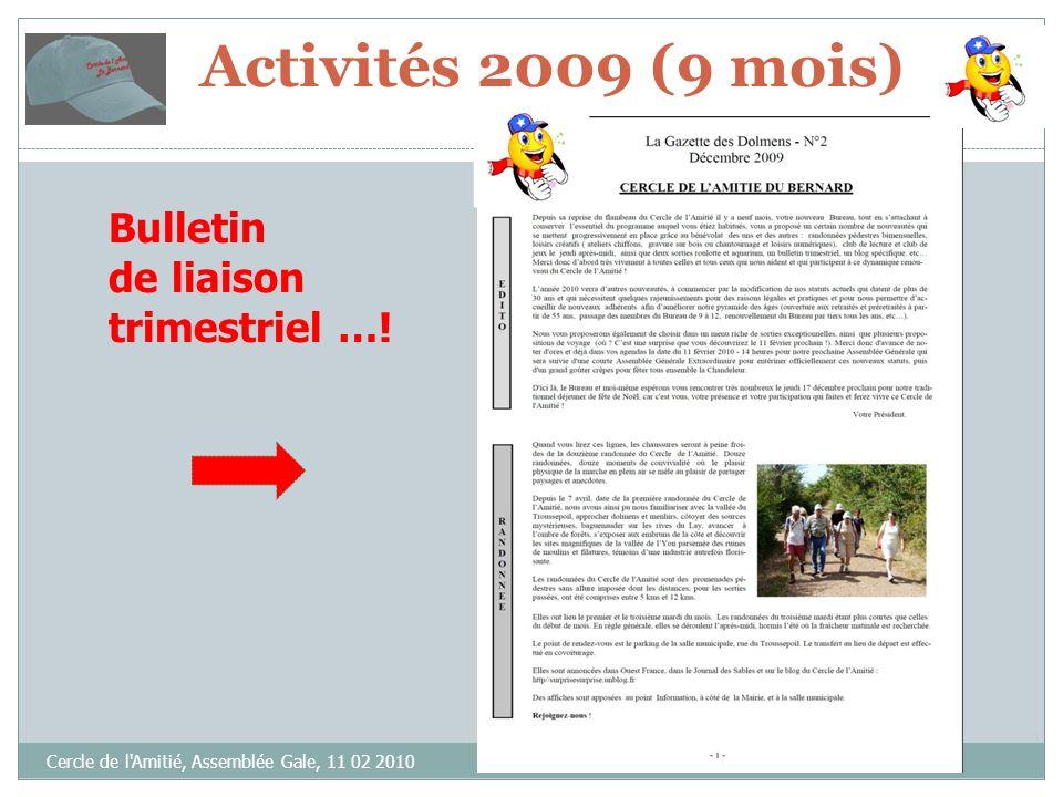 Cercle de l Amitié, Assemblée Gale, 11 02 2010 Bulletin de liaison trimestriel ….