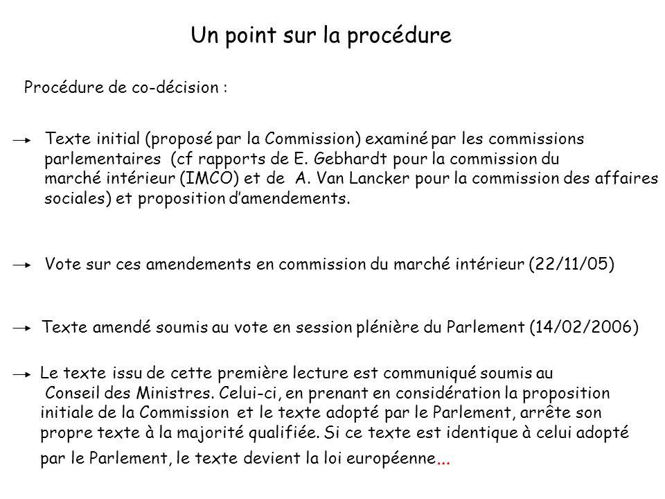 207 Un point sur la procédure Texte amendé soumis au vote en session plénière du Parlement (14/02/2006) Vote sur ces amendements en commission du marché intérieur (22/11/05) Texte initial (proposé par la Commission) examiné par les commissions parlementaires (cf rapports de E.