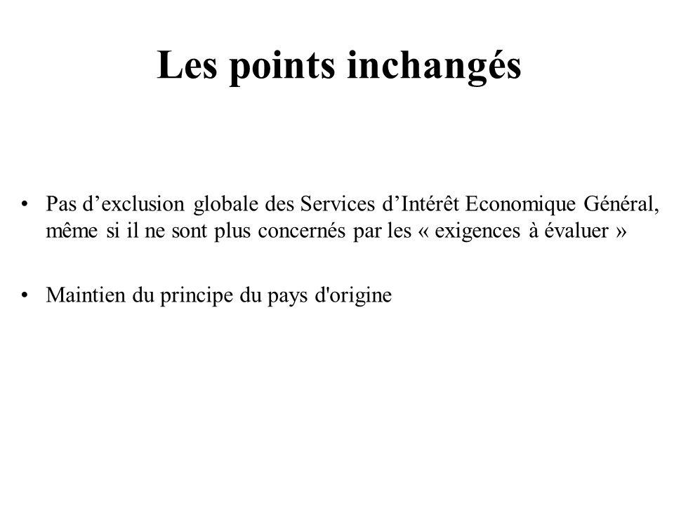 207 Pas dexclusion globale des Services dIntérêt Economique Général, même si il ne sont plus concernés par les « exigences à évaluer » Maintien du principe du pays d origine Les points inchangés