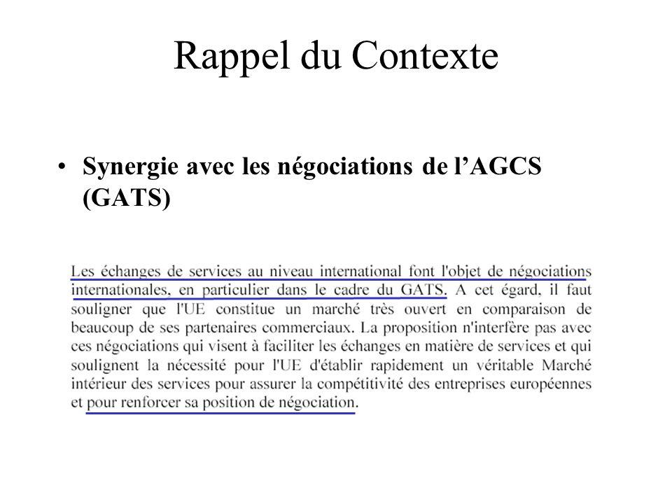 207 Rappel du Contexte Synergie avec les négociations de lAGCS (GATS)