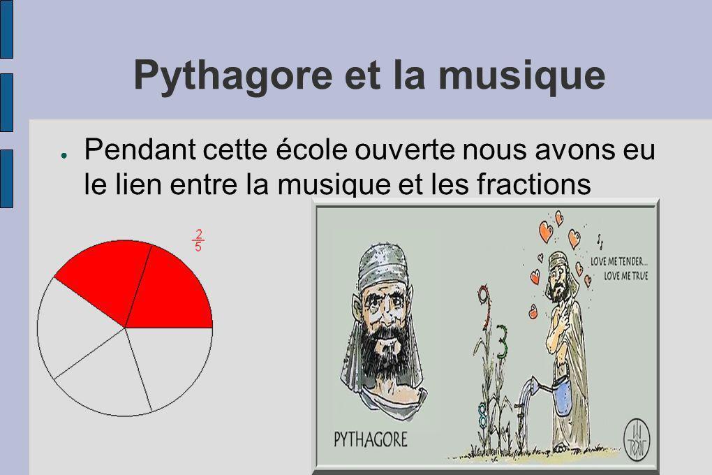 Pythagore et la musique Pendant cette école ouverte nous avons eu le lien entre la musique et les fractions