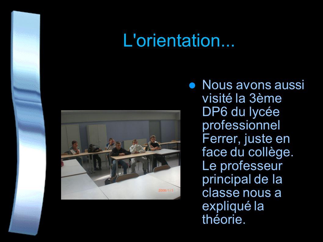 L'orientation... Me Dehaynin responsable de la 3ème d'insertion au collège est venue nous présenter le dispositif, nous a expliqué comment on travaill