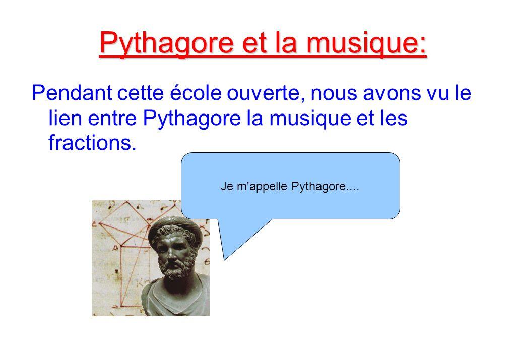 Pythagore et la musique: Pendant cette école ouverte, nous avons vu le lien entre Pythagore la musique et les fractions. Je m'appelle Pythagore....