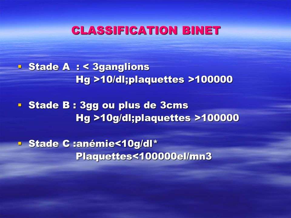 CLASSIFICATION BINET Stade A : < 3ganglions Stade A : < 3ganglions Hg >10/dl;plaquettes >100000 Stade B : 3gg ou plus de 3cms Stade B : 3gg ou plus de