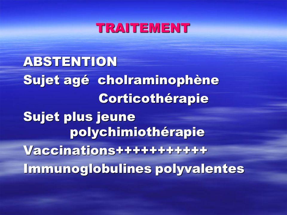 TRAITEMENT ABSTENTION Sujet agé cholraminophène Corticothérapie Sujet plus jeune polychimiothérapie Vaccinations+++++++++++ Immunoglobulines polyvalen