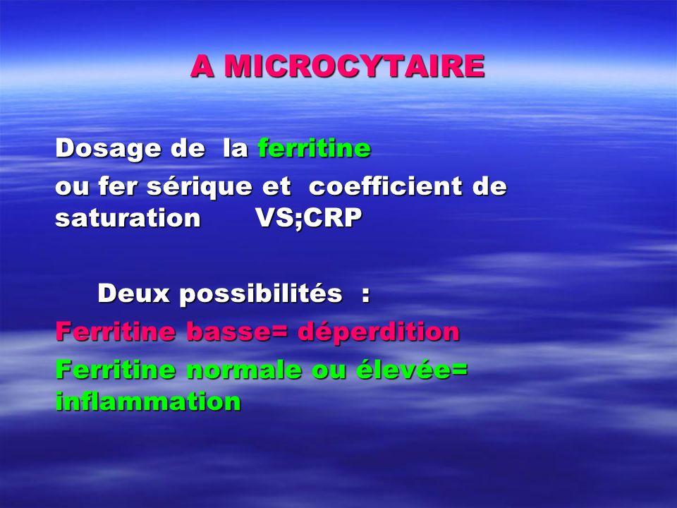 A MICROCYTAIRE Dosage de la ferritine ou fer sérique et coefficient de saturation VS;CRP Deux possibilités : Ferritine basse= déperdition Ferritine no